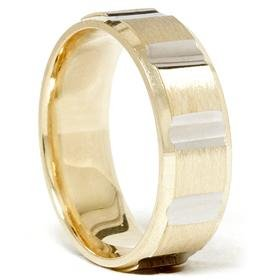 14k Gold Two Tone Comfort Fit Brushed Wedding Band