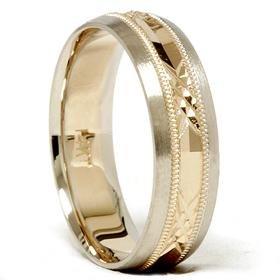 14k Gold Two Tone Comfort Fit Swiss Cut Wedding Band