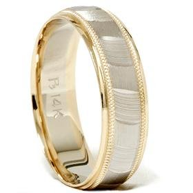 14k Gold 6mm Two Tone Comfort Fit Wedding Band