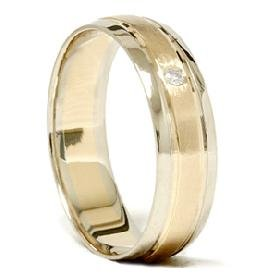 14k Gold Two Tone Comfort Diamond Wedding Ring