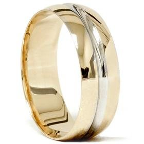 14k Gold Two Tone Comfort Fit Wedding Band