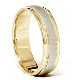 18k Gold & Platinum Brushed Two Tone Wedding Band