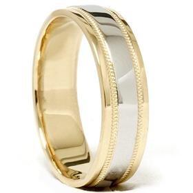 Men's Milgrain Platinum and 18K Comfort Fit Wedding Band