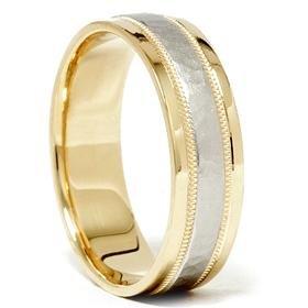 Men's Hammered Platinum & 18K Comfort Fit Wedding Band