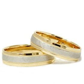 Matching 18k Gold & Platinum Hammered Wedding Band Set