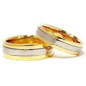 18k Gold & Platinum Two Tone Wedding Rings Set