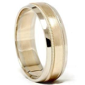14k Gold Two Tone Milgrain Wedding Ring