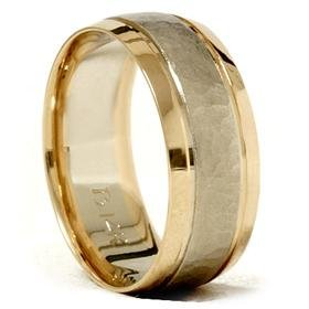 14k Gold 8mm Hammered Two Tone Comfor Fit Wedidng Band