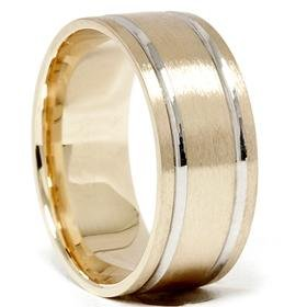 14k Gold 8mm Two Tone Comfort Fit Wedding Band