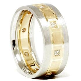 Platinum & 18k Gold Two Tone Diamond Wedding Ring