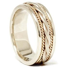 14k White & Yellow Gold Two Tone Hand Braided Wedding Band
