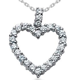 14k White Gold .75ct Diamond Heart Pendant