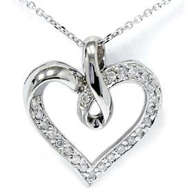 14k White Gold .33ct Diamond Heart Pendant