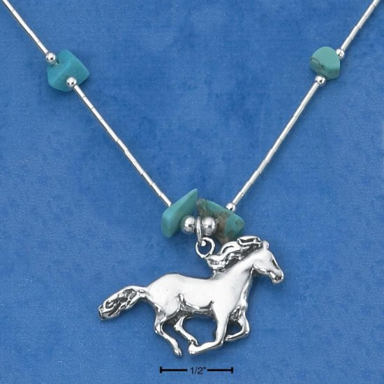 """STERLING SILVER 16"""" LIQUID SILVER NECKLACE W/ GENUINE TURQUOISE CHIPS & HORSE NK-684"""