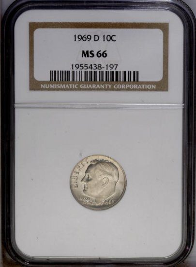 1969-D Roosevelt Dime NGC MS66 - as7