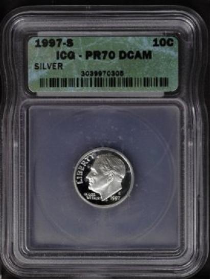 1997--S Silver Roosevelt Dime ICG PR70DCAM - at1