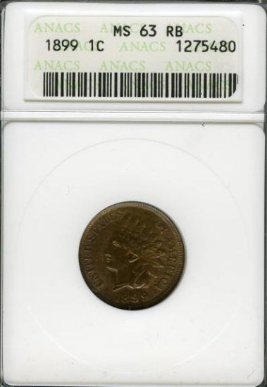 1899 Indian Head Cent ANACS MS63RB - aa2