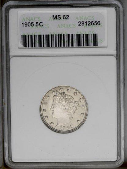 1905 Liberty Head Nickel ANACS MS62 - ak0