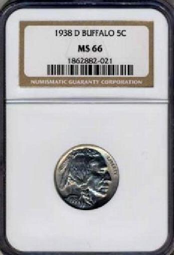 1938-D Buffalo Nickel NGC MS66 Blast white - av4