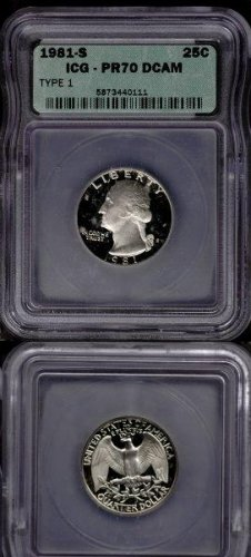 1981-S Type 1 Washington Quarter ICG PR70 DCAM