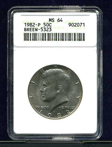 1982-P Breen-5323 No FG Kennedy Half Dollar ANACS MS64