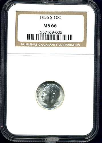 1955-S Roosevelt Dime NGC MS66 interesting die crack