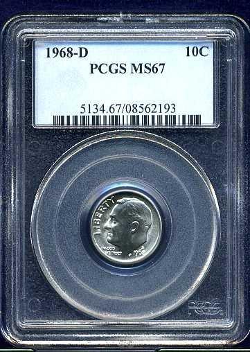 1968-D Roosevelt Dime PCGS MS67