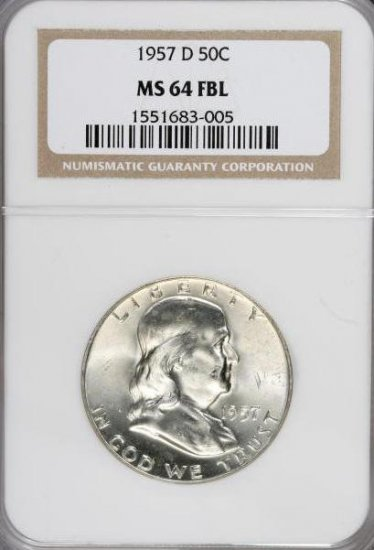 1957-D Franklin Half Dollar NGC MS64FBL