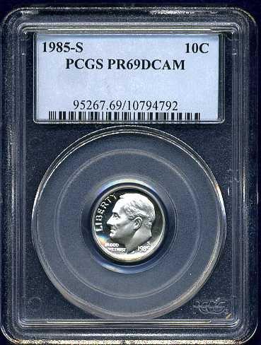 1985-S Roosevelt Dime PCGS PR69DCAM