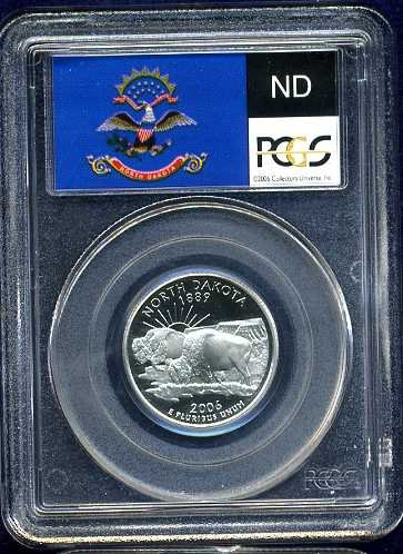 2006-S Clad North Dakota Quarter PCGS PR69DCAM Flag Holder