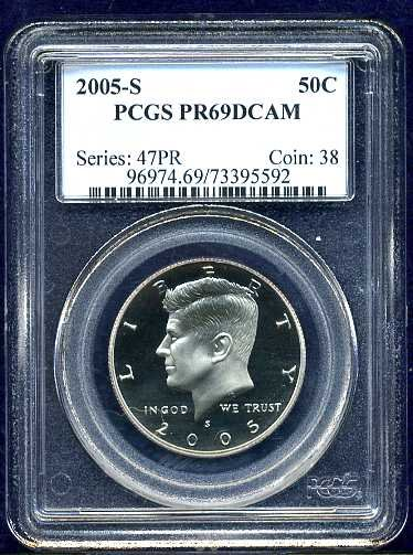 2005-S Clad Proof Kennedy Half Dollar PCGS PR69DCAM