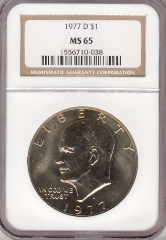 1977-D Eisenhower Dollar MGC MS65 Ike Gem Unc