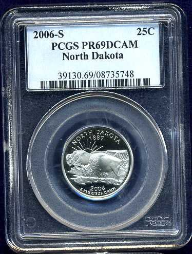 2006-S Clad North Dakota Quarter PCGS PR69DCAM