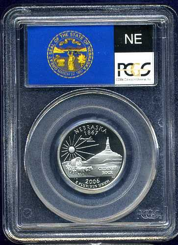 2006-S Clad Nebraska Quarter PCGS PR69DCAM Flag Holder