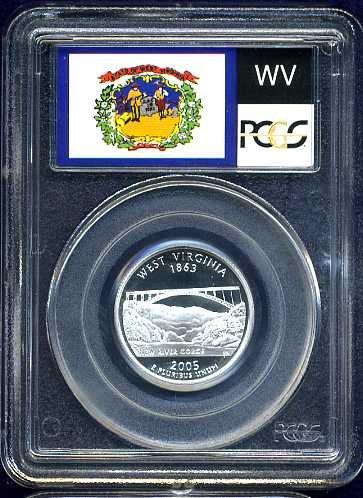 2005-S Silver West Virginia Quarter PCGS PR69DCAM Flag Holder