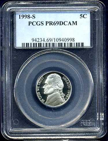 1998-S Jefferson Nickel PCGS PR69DCAM