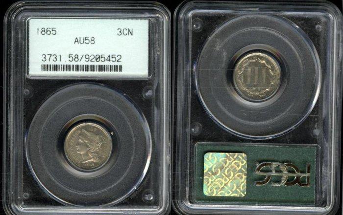 1865 Three Cent Nickel PCGS AU58