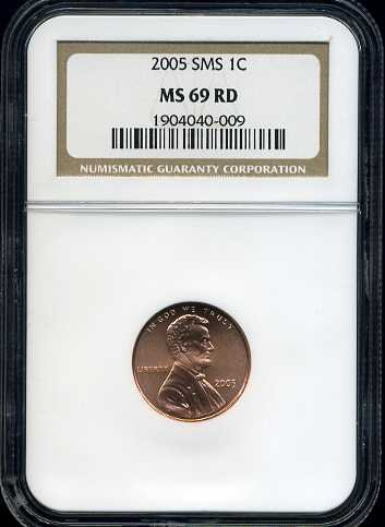 2005 SMS Lincoln Cent NGC MS69 Red