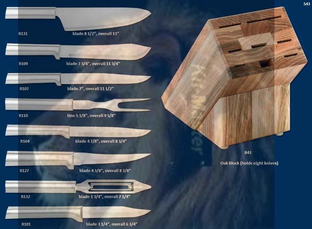 S43 Colossal Knives w/Oak Block Holiday Gift Set (Rada Cutlery)