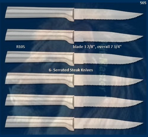 S6S Six Serrated Steak Knives Holiday Gift Set (Rada Cutlery)