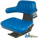 W300BU Universal Adjustable Tractor Seat with Arm Rest BLUE