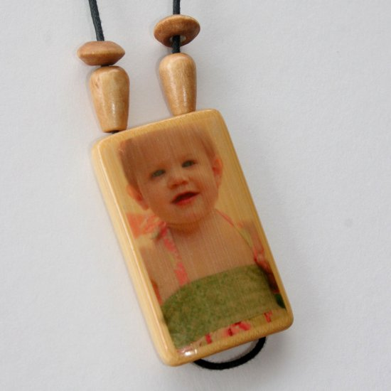 Bamboo Tile Photo Necklace