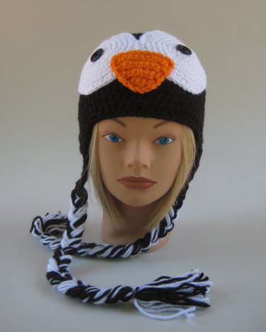 Penguin Crochet Handmade  Beanie Hat Toddler 1 - 4