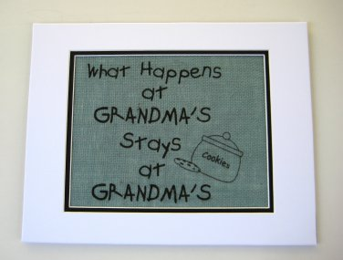 "Burlap Printed Wall Art Sign ""What Happens at Grandma's stays at Grandma's"