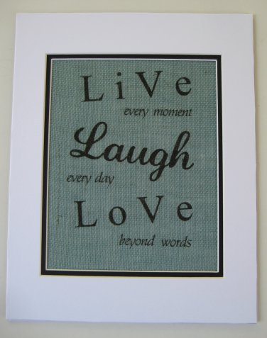 "Burlap Printed Wall Art Sign ""Live Laugh Love """