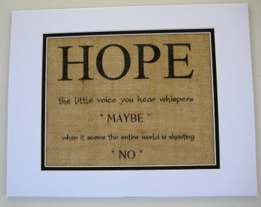 "Burlap Printed Wall Art Sign ""Hope  """