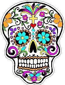 Day of the Dead Decal Rockabilly Rock Vintage Skull #19