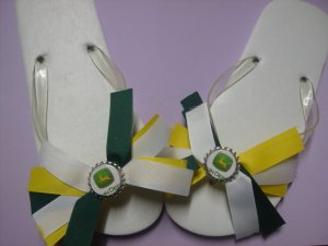 John Deere Flip Flops 2 Pair