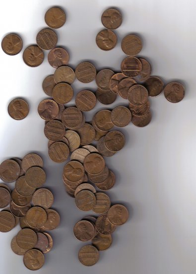 $10 Face Value Copper Cents (95% Copper Type)
