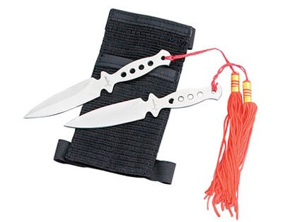 """Set of 2 5"""" Throwing Knives with Wrist Sheath"""